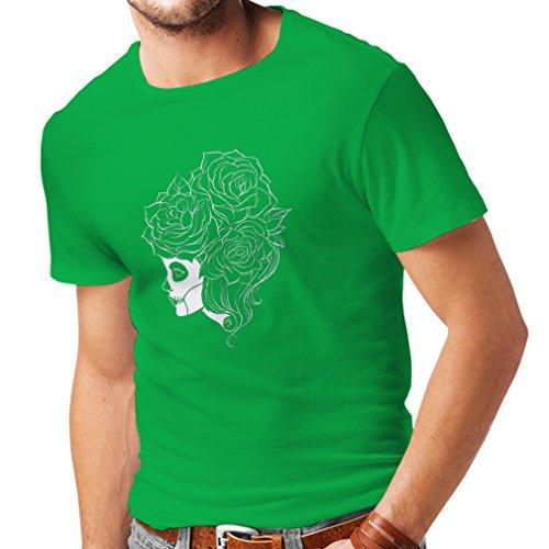 N4324 Männer T-Shirt Mode Schädel Blumen (Large Grün Mehrfarben) (Neugeborenen Harley Davidson Kleidung)
