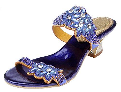 Honeystore Damen's Blumen Form Strass Handgemacht Offen Ferse Sandalen Blau 38 EU