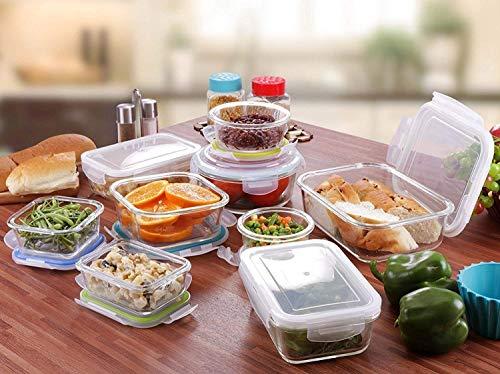 KICHLY Recipiente -  Contenedor de Almacenamiento de Alimentos de Vidrio -  18 Piezas (9 envases + 9 Tapas) Tapas Transparentes -  Sin BPA -  para la Cocina o el Restaurante de Uso Doméstico