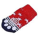 TOOGOO(R) Calcetines para perro mascota de impresion de pata con fondo antideslizante - Aprox. 2,7 pulgadas de largo x 1,5 pulgadas de ancho (sin estirar)