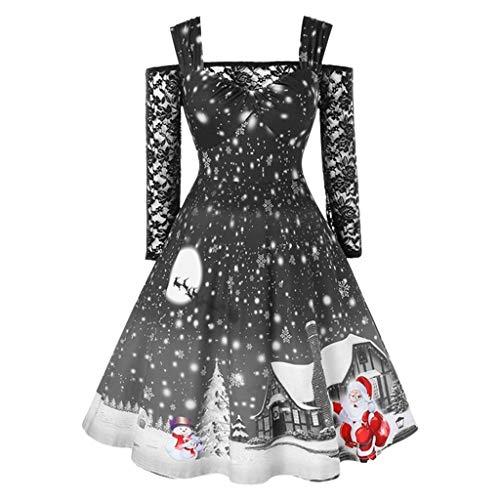 Mode Damen Weihnachten Kleider Party Karneval Kleid Abendessen Kleid Cocktailkleid Weihnachtsmann Muster Kalte Schulter Spitze T-Shirt Patchwork Vintage Kleid