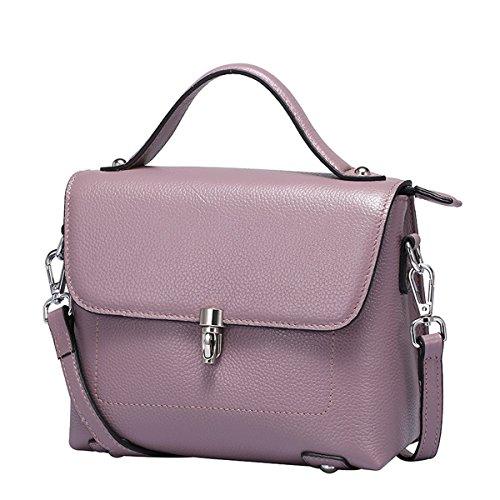 Dissa Q0753 Damen Leder Handtaschen Top Handle Satchel Tote Taschen Schultertaschen,22x10x18 B x T x H (cm) Violett