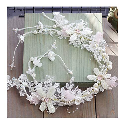 Blume Kranz Mädchen Kopfschmuck Handgefertigte Perlen Spitze Weiß Quaste Haarband Hochzeit Braut Haarschmuck &Blumenkranz (größe : 76cm)