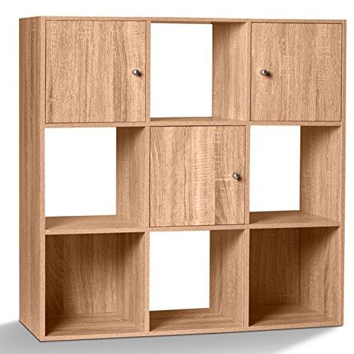 IDMarket - Meuble de Rangement Cube 9 Cases Bois façon hêtre avec 3 Portes