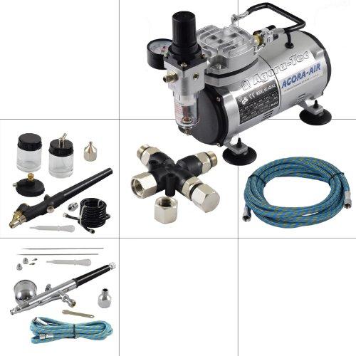Agora-Tec® Airbrush Komplett-Set EXPERT VII.1, Komplettsystem für Airbrushanwendungen, inkl. Kompressor mit 4 bar und 20l/min + 2 Airbrushpistolen mit 0,2 & 0,3 & 0,5 & 0,8mm Nadeln/Düsen + 3-fach Luftdruckverteiler + 2 Schläuche + Adapter