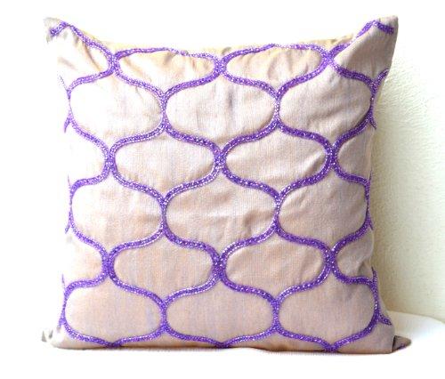 geometrico cuscino-Cuscino di seta con Sashiko rete da pesca modello