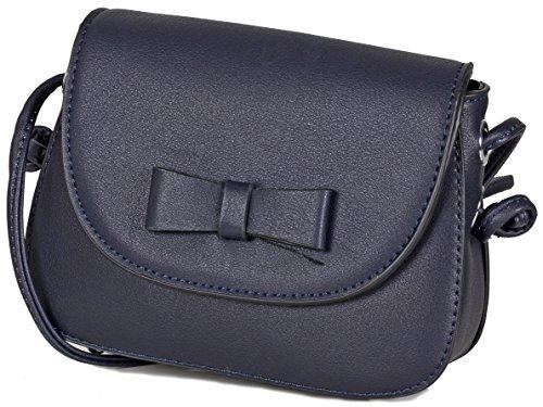 L&S Collection Kleine Damen Abendtasche Umhängetasche Kunstleder (17 x 12,5 x 6 cm) (Blau Navy) (Marine-blau-handtasche)