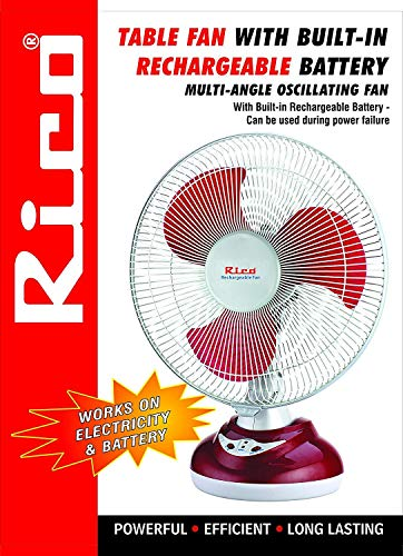 Rico Rechargeable Battery Table Fan (White)