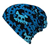 WOLLHUHN ÖKO Long-Beanie, Wende-Mütze, ganzjährig, Coole Skulls blau/schwarz, Innenseite uni grau, für Mädchen und Jungen (aus Öko-Stoffen, bio) 20160212, Größe M: KU 52/54 (ca 3-7 Jahre)