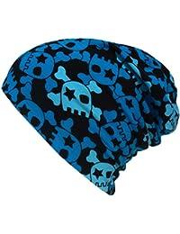 WOLLHUHN ÖKO Long-Beanie, Wende-Mütze, ganzjährig, Coole Skulls blau/schwarz, Innenseite uni grau, für Mädchen und Jungen (aus Öko-Stoffen, bio) 20160212