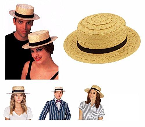 Fancy Dress Trinians Kostüm St - Lizzy ADULT UNISEX STRAW HAT Fancy Dress Summer St Trinian Easter Hawaiian Fancy Dress Costume Bonnet Summer Party (Unisex Straw Boater Hat)