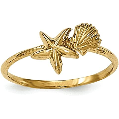 JewelryWeb - Anello in oro 14 ct, finitura lucida, motivo: stella marina e conchiglia