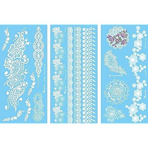 NOVAGO 3tablas de 20x 10cm de tatuajes éphémères blancos varios diseños