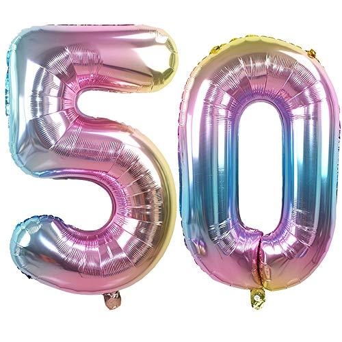 Ouinne Ballon Zahl 50, 32 Zoll Helium Folie Luftballon 50 Geburtstag Folienballon Geburtstag Dekoration Set Riesen Folienballon Fur Party (Regenbogen)