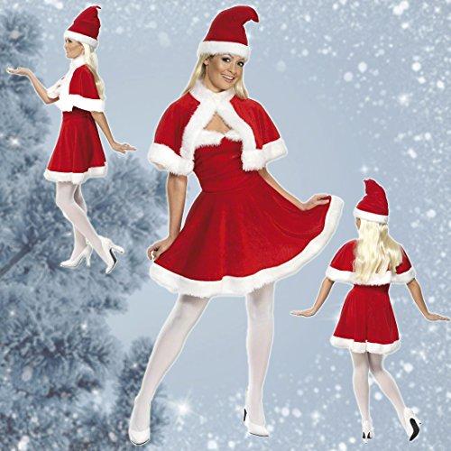Costume babbo natale donna vestito natalizio ragazza s 40/42 - outfit femminile di natale travestimento da mamma natale abito donna moglie babbo natale completo natalizio da donna carnevale