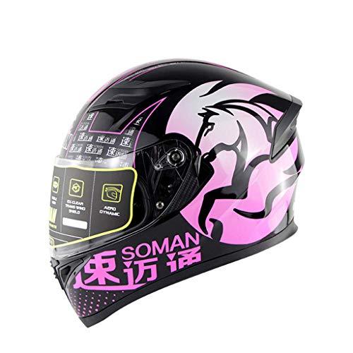 HELMET Motorrad Crash Modularer Helm Horse Motorradhelm mit Sonnenblende Integrierte UV-Sonnenbrille DOT & ECE R22.05-zertifizierter Anti-Fog-Doppelbezug,Pink,L(59~60cm)