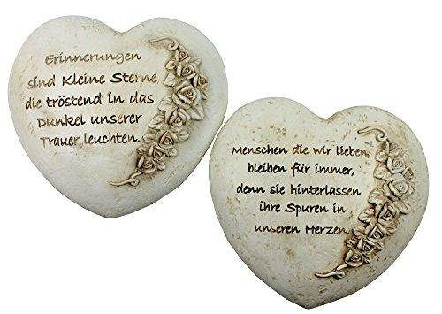 Trauerherz mit Rosenranke 2 Stück und Spruch 16cm x 14cm Kunststeinherz Dekoherz Deko Herz Abschied Erinnerung Grabherz Herzen Grabgestecke