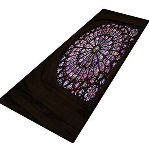 ZEELIY Antirutschmatte Teppichunterlage Teppichstopper Rutschschutz für Teppich Teppich Antirutsch Rutsch Stop Notre Dame de Paris Pattern Square Bereichswolldecke Fleece Kitchen Bathroo 40X120CM
