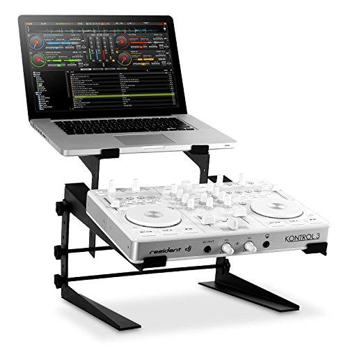 resident dj DJX-250 • Laptop-Ständer • Mixer-Ständer • Notebookständer • Universal-Ständer • ergonomisches Design • rutschfeste Stand- und Auflageflächen • verstellbar in Breite und Höhe • Metallkonstruktion • Schaumstoffpolsterung • schwarz