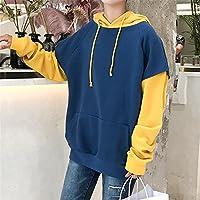 Dos falsos abrigo de invierno abrigo chaqueta casual hoodies falso, suelta dos encapuchados jersey de manga larga,Azul,Xl