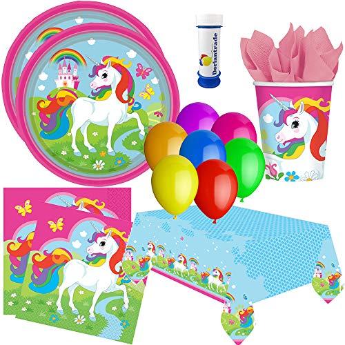 Amscan, doriantrade Juego de Fiesta de 62 Piezas con Unicornio arcoíris. para 8 niños para cumpleaños Infantil con Platos, Vasos, servilletas, Mantel, Globos