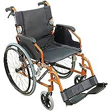 Aidapt VA165ORANGE Deluxe Leichtgewichtiger Rollstuhl aus Aluminium, orange