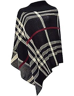 Friendz Trendz--Le Donne signore alto collo Tartan Wrap lavorato a maglia Poncho Capo dello scialle Sz 8-14