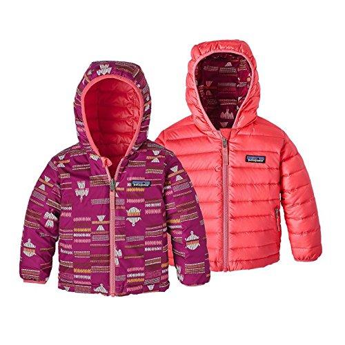 Patagonia Baby Reversible Down Sweater Hoody River Tribe Small: Magenta 4T (Kids) (Reversible Hoody Sweatshirts)