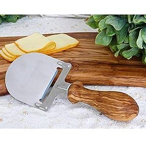Käsehobel mit Griff – Gedrechselt aus Olivenholz | HANDMADE | Küchenzubehör Geschenkidee
