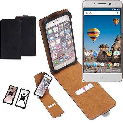 K-S-Trade Flipstyle Hülle General Mobile GM 5 Plus Handyhülle Schutzhülle Tasche Handytasche Case Schutz Hülle + integrierter Bumper Kameraschutz, schwarz (1x)
