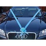 Kit voiture de mariage Lot de 3 nœuds à tirer Bleu ciel 50 mm + Ruban de fleuriste Bleu ciel 6 m x 50 mm Idéal pour les voitures de mariage.