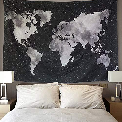 Lomohoo Tapiz Mapa del Mundo para Pared Decoración Retro Tapiz de Tela de poliéster para Colgar en la Pared para Sala de Estar habitación Decoraciones Habitación En Blanco y Negro(M/130cm*150cm)