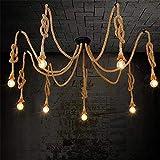 Retro DIY Industrielles Hängeleuchte Pendelleuchte, Kopf Hanf-Seil-hängendes Licht für das Speisen, Halle, Restaurant, Stab, Café