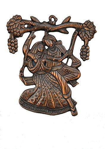 The Hue Cottage Herr Radha krishna Wand Dekor indisch hindu religiösen Figuren Schwarz Metallhänge Paradestück