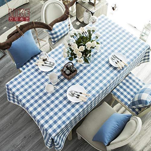 Toile de nappe de coton lin bleu plaid de dentelle rectangle couverture de table anti-poussière pour cuisine dinning décoration de table parties intérieures ou extérieures, utilisation quotidienne