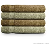 Swiss Republic Signature 4 Piece 630 GSM Cotton Hand Towel Set - Dark Brown and Light Brown