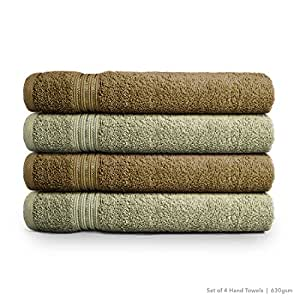 Swiss Republic Signature 4 Piece 630 GSM Cotton Hand Towel Set - Dark Brown and Light Brown