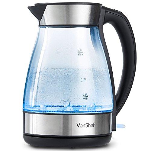 VonShef Wasserkocher aus Glas 1,7L - 2200W, Blaue LED-Beleuchtung, kabellos