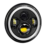 #10: Ezip 7 inch Round LED Headlight with Angel Eye Projector Dual DRL Color, H4 Type with 4 Lights for Royal Enfield Bullet (SSREHL140718)