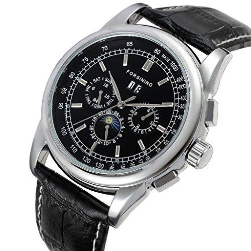 GuTe Luxury Gentleman cover lucida argento meccanico automatico orologio da polso quadrante nero cinturino in PU giorno Data Mese