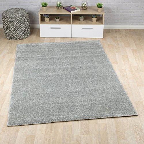 Taracarpet Kurzflor-Designer Uni Teppich Extra Weich fürs Wohnzimmer, Schlafzimmer, Esszimmer Oder Kinderzimmer Gala Grau 200x290 cm
