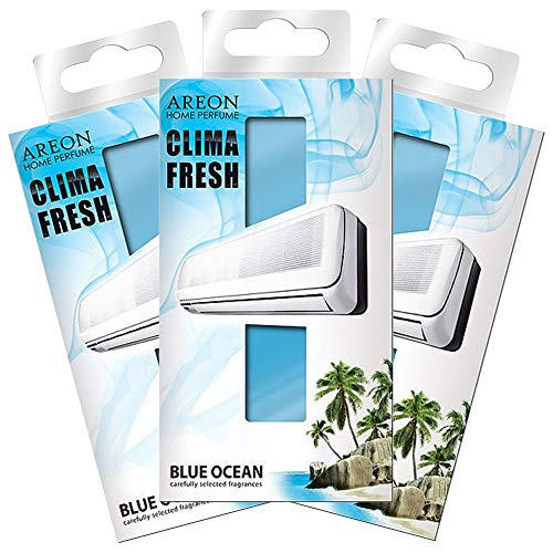 AREON Clima Fresh - Blue Ocean - Air Conditioner Room Air Freshener - Home - Office - Restaurant - Fitness Center - Gym - Boutique - Home Perfume, Lasting Fragrance, Set of 3