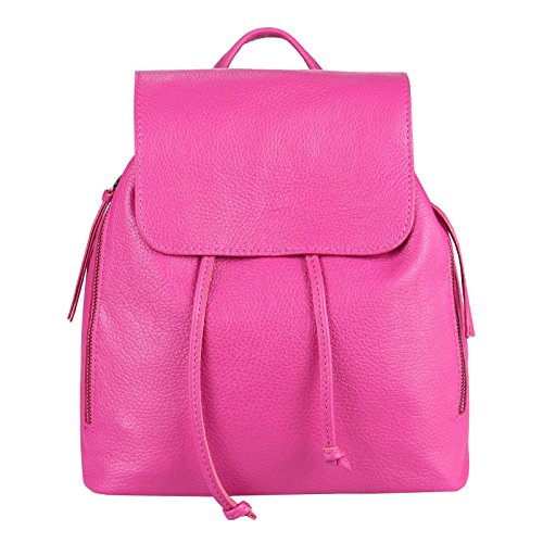 OBC Made IN Italy Damen Echt Leder Rucksack Cityrucksack Lederrucksack Tasche Schultertasche Ledertasche Stadtrucksack Rindsleder Handtasche Daypacks Backpack (Pink)