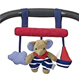 Sterntaler Spielzeug zum Aufhängen mit Klettverschluss, Elefant Erwin, Inklusive Rassel, Alter: Für Babys ab der Geburt, Rot/Blau
