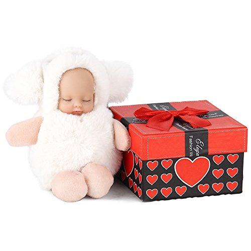 Süße Mädchen Tasche Charme - AOKE Mini Schlaf Hundekopf Baby Fluffy Puppe Keychain Handy Zubehör Ornament Spielzeug Plüsch Puppe mit Schlüsselring Klein Weiß