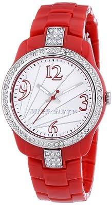 Miss Sixty Sra009 - Reloj para niñas de cuarzo, correa de plástico color rojo