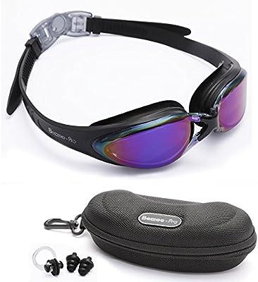 Bezzee-Pro gafas de nado para adultos púrpura Color lentes espejo correa silicona alta calidad - ajuste cómodo sin filtraciones anti-niebla y anti-ruptura no corrosivo a la moda incluye estuche gratis, tapones de orejas y pinza de nariz