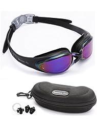 Bezzee-Pro gafas de nado para adultos púrpura Color lentes espejo correa silicona alta calidad – ajuste cómodo sin filtraciones anti-niebla y anti-ruptura no corrosivo a la moda incluye estuche gratis, tapones de orejas y pinza de nariz