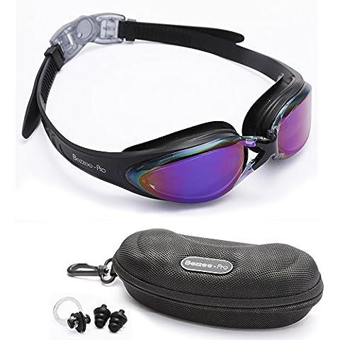 Bezzee-Pro gafas de nado para adultos púrpura Color lentes espejo correa silicona alta calidad – ajuste cómodo sin filtraciones anti-niebla y anti-ruptura no corrosivo a la moda incluye estuche gratis, tapones de orejas y pinza de