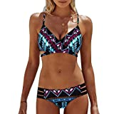 OVERDOSE Frauen Böhmen Push-Up Bikini Sets Gepolsterte BH Beach Damen Badeanzug Bademode Swimsuit Swimwear(SkyBlue,XL